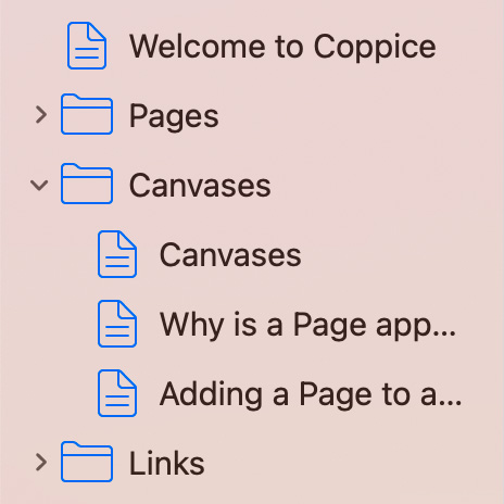 Coppice's sidebar, showing Pages grouped into Folders