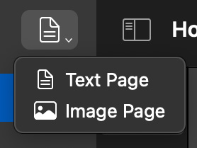 The new create page button. The icon now shows the text page icon, and the menu shows page type icons next to the menu item title