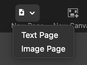 The old create page button, a basic pull down control with a dedicated 'new page' icon