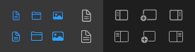 A selection of icons from the sidebar and toolbar of Coppice. The top row shows SFSymbols icons, which are all blurry. Below are the re-created icons optimised for non-retina displays with non of the blurriness